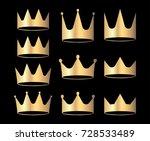 gold crowns set for heraldry... | Shutterstock .eps vector #728533489