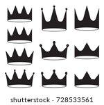 set of ten black crowns for... | Shutterstock .eps vector #728533561