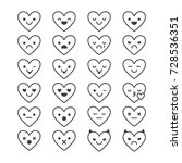 heart shaped  set of emoji.... | Shutterstock .eps vector #728536351
