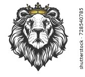 lion head with crown.vector... | Shutterstock .eps vector #728540785