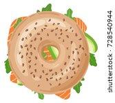 fresh bagel sandwich with... | Shutterstock .eps vector #728540944