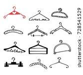 doodle clothes hangers set.... | Shutterstock .eps vector #728541529