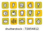 doodle icon set - food. changeable colors. - stock vector