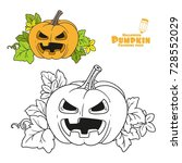lantern from pumpkin with the... | Shutterstock .eps vector #728552029