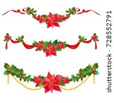 christmas garland with... | Shutterstock .eps vector #728552791