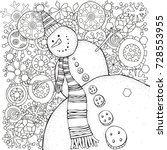 cheerful snowman and snowflakes.... | Shutterstock .eps vector #728553955