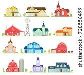 set of flat icon suburban... | Shutterstock .eps vector #728556499