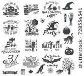 set of halloween party concept... | Shutterstock .eps vector #728556541