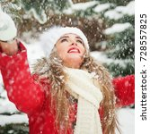 winter lifestyle portrait of... | Shutterstock . vector #728557825
