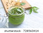 jar with delicious basil pesto... | Shutterstock . vector #728563414