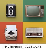 retro or vintage electronics | Shutterstock . vector #728567245