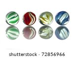 Five Glass Marbles  Green  Red...