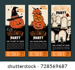 halloween banner template.... | Shutterstock .eps vector #728569687