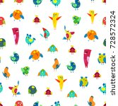 cartoon colorful birds set... | Shutterstock .eps vector #728572324