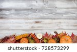 Autumn Foliage With Pumpkins ...
