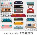 interior.set of sofas. sofa... | Shutterstock .eps vector #728579224