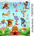 circus funny animals  set of... | Shutterstock .eps vector #728590705