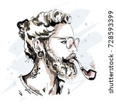 stylish handsome man with beard ... | Shutterstock .eps vector #728593399