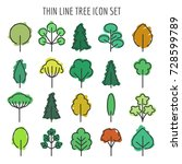 colored hand drawn tree icons.... | Shutterstock .eps vector #728599789