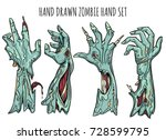 zombie hand set isolated on... | Shutterstock .eps vector #728599795