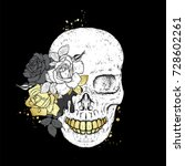 stylish skull with beautiful... | Shutterstock .eps vector #728602261