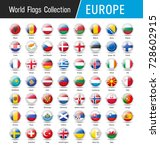 flags of europe  inside round... | Shutterstock .eps vector #728602915