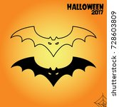 halloween bat line and black... | Shutterstock .eps vector #728603809