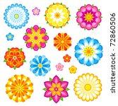 Decorative Flowers Set. Vector...