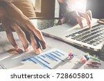 businessmen are analysis big... | Shutterstock . vector #728605801