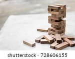 block wooden game on cement... | Shutterstock . vector #728606155