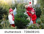 family selecting christmas tree.... | Shutterstock . vector #728608141