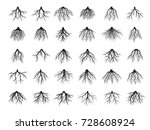 beautiful black roots tree.... | Shutterstock .eps vector #728608924