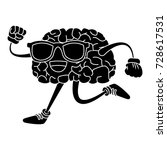 brain cartoon running | Shutterstock .eps vector #728617531