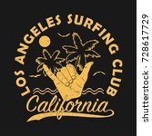 los angeles surfing club ... | Shutterstock .eps vector #728617729