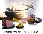 global business of container... | Shutterstock . vector #728618155