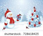 snowman in santa claus hat... | Shutterstock .eps vector #728618425