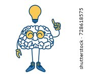 nerd brain with idea cartoon | Shutterstock .eps vector #728618575