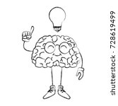nerd brain with idea cartoon | Shutterstock .eps vector #728619499