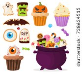 halloween party colorful sweets ... | Shutterstock .eps vector #728624515