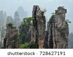 "Small photo of Zhangjiajie the ""Avatar"" mountains in Hunan province in China. Thousand and thousand rock soar to skyward. The evergreen pine trees struggle on the top of the hills."