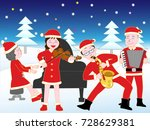 christmas concert with family. | Shutterstock .eps vector #728629381