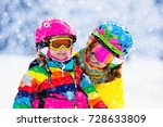 family ski vacation. group of... | Shutterstock . vector #728633809