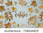 autumn composition. frame made... | Shutterstock . vector #728634829