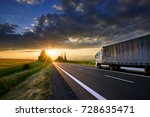 truck driving on the asphalt... | Shutterstock . vector #728635471