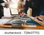 three colleagues business... | Shutterstock . vector #728637751