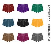 short women's shorts with a... | Shutterstock .eps vector #728651305