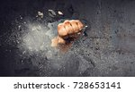 hand breaking through the wall. ... | Shutterstock . vector #728653141