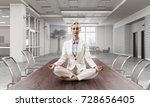 business lady meditating at... | Shutterstock . vector #728656405