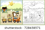 vector cartoon of cute animals... | Shutterstock .eps vector #728658571