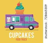 cupcakes food truck   Shutterstock .eps vector #728665309
